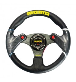 Momo - 32cm Black Leather Steering Wheel And Carbon Fibre Wheel